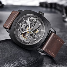 Load image into Gallery viewer, Front image black-brown Venal Skeleton Mechanical Watch in gray background