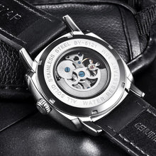 Load image into Gallery viewer, Back image black Venal Skeleton Mechanical Watch in gray background