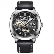 Load image into Gallery viewer, Front image silver-black Venal Skeleton Mechanical Watch in white background