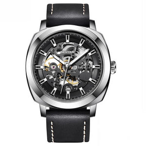 Front image silver-black Venal Skeleton Mechanical Watch in white background