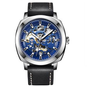 Front image silver-blue Venal Skeleton Mechanical Watch in white background