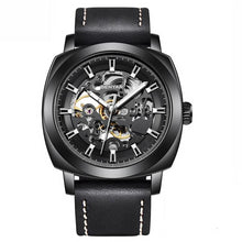 Load image into Gallery viewer, Front image black Venal Skeleton Mechanical Watch in white background