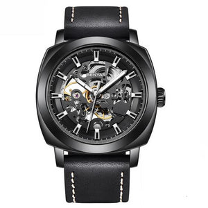 Front image black Venal Skeleton Mechanical Watch in white background