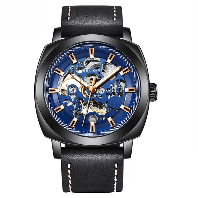 Front image black-blue Venal Skeleton Mechanical Watch in white background