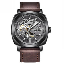 Load image into Gallery viewer, Front image black-brown Venal Skeleton Mechanical Watch in white background