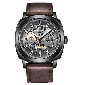 Front image black-brown Venal Skeleton Mechanical Watch in white background