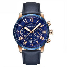 Load image into Gallery viewer, Front image blue Meteor Chronograph Leather Watch in white background