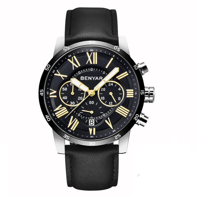 Front image black Meteor Chronograph Leather Watch in white background