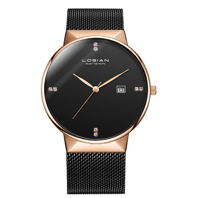 Diamond Minimalist Rose Gold Stainless Steel Watch