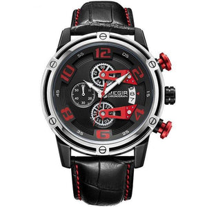 Front-facing image Conquest Leather Military Watch with red markers in white background