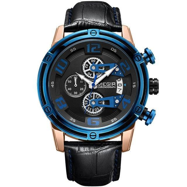 Front-facing image Conquest Leather Military Watch with blue markers in white background