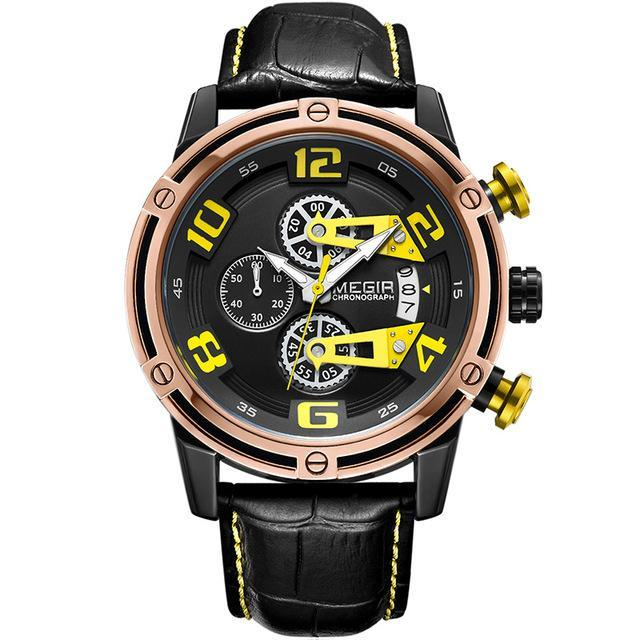 Front-facing image Conquest Leather Military Watch with yellow markers in white background