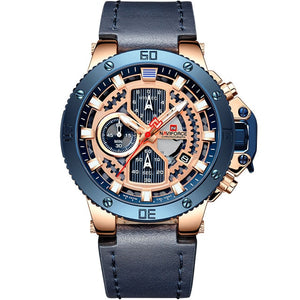 Zincon Mens Chronograph Leather Watch - Blue
