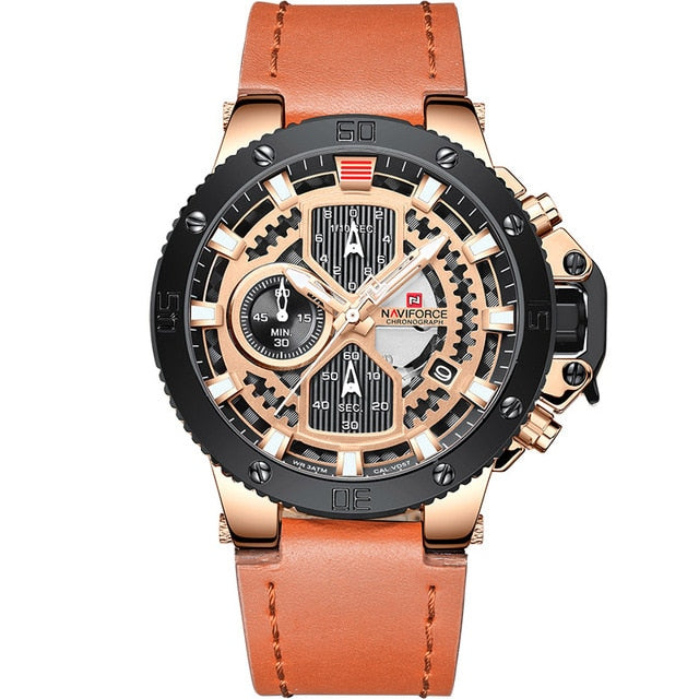 Zincon Mens Chronograph Leather Watch - Rose Gold