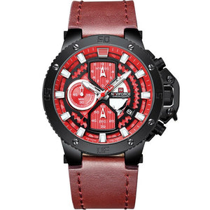 Zincon Mens Chronograph Leather Watch - Red