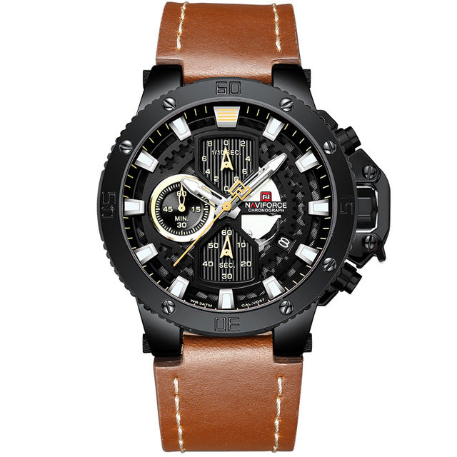 Zincon Mens Chronograph Leather Watch - Black
