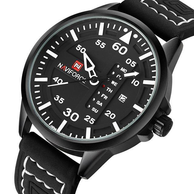 Admiral Men's Military Quartz Leather Watch - Black Leather Strap