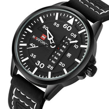 Load image into Gallery viewer, Admiral Men's Military Quartz Leather Watch - Black Leather Strap