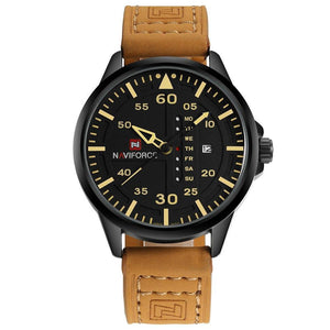Admiral Men's Military Quartz Leather Watch - Yellow Leather Strap