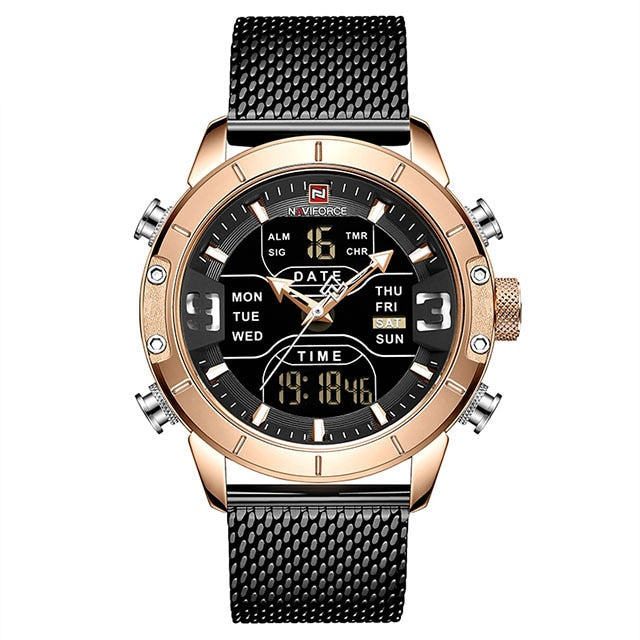 Front image Zonevo Stainless Steel Wrist Watch with black-gold dial in white background