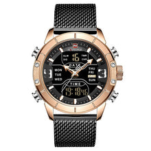 Load image into Gallery viewer, Front image Zonevo Stainless Steel Wrist Watch with black-gold dial in white background