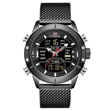 Load image into Gallery viewer, Front image Zonevo Stainless Steel Wrist Watch with black dial in white background