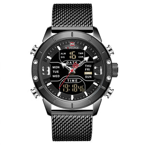 Front image Zonevo Stainless Steel Wrist Watch with black dial in white background