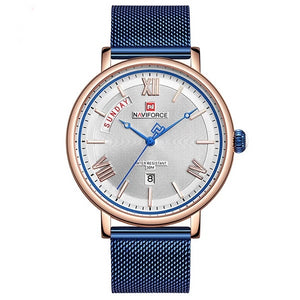 Front image blue Teveno Men's Stainless Steel Mesh Watch in white background