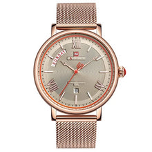 Load image into Gallery viewer, Teveno Men's Stainless Steel Mesh Watch - Rose Gold Color