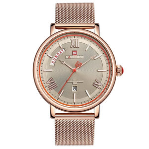 Front image rose-gold Teveno Men's Stainless Steel Mesh Watch in white background