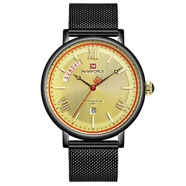 Front image black-yellow Teveno Men's Stainless Steel Mesh Watch in white background