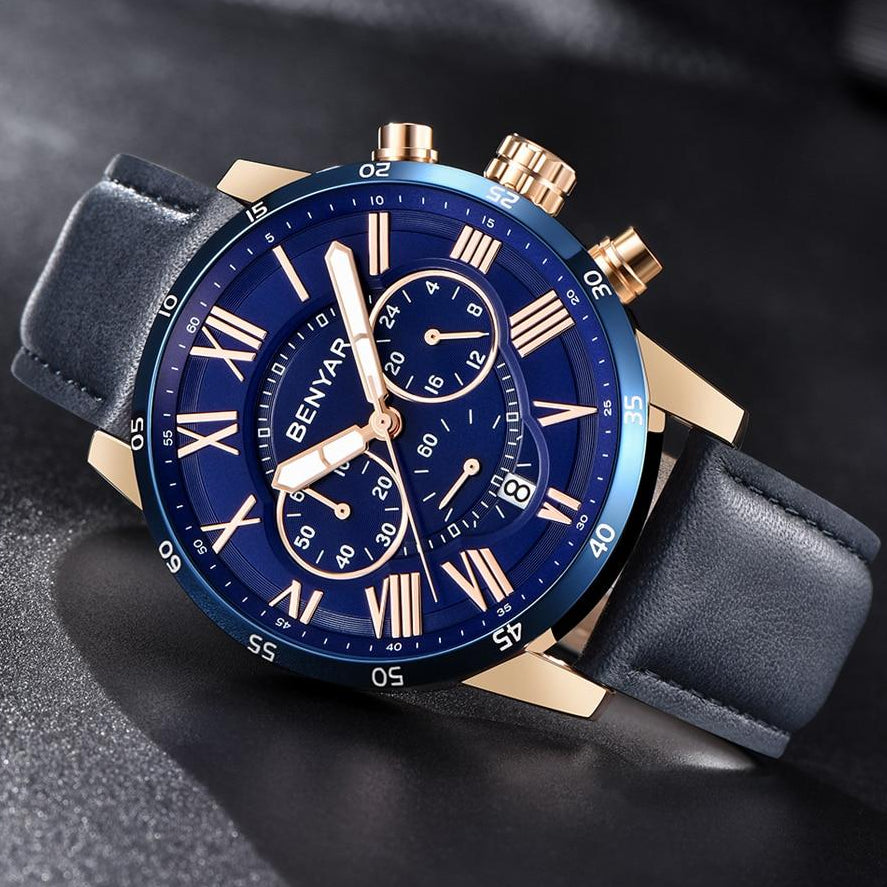 Blue Meteor Chronograph Leather Watch in gray background