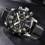 Black Meteor Chronograph Leather Watch in gray background