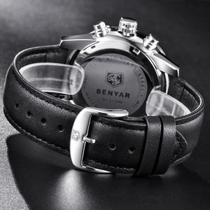 Back black Meteor Chronograph Leather Watch in gray background