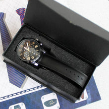 Load image into Gallery viewer, Black Meteor Chronograph Leather Watch in black box