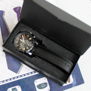 Black Meteor Chronograph Leather Watch in black box