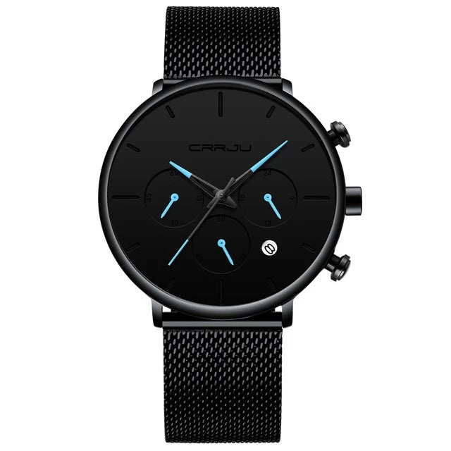 Tineso Men's Black Minimalist Watch - Black and Blue