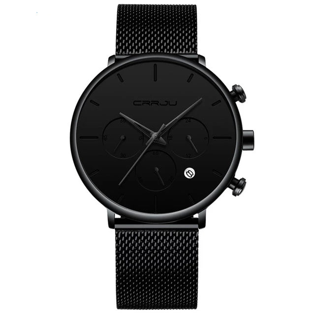 Tineso Men's Black Minimalist Watch - Black