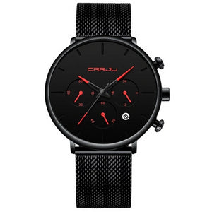 Tineso Men's Black Minimalist Watch - Black and Red