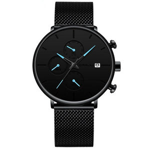 Front facing image of Cazonia Stainless Steel Mesh Watch with blue markers in white background