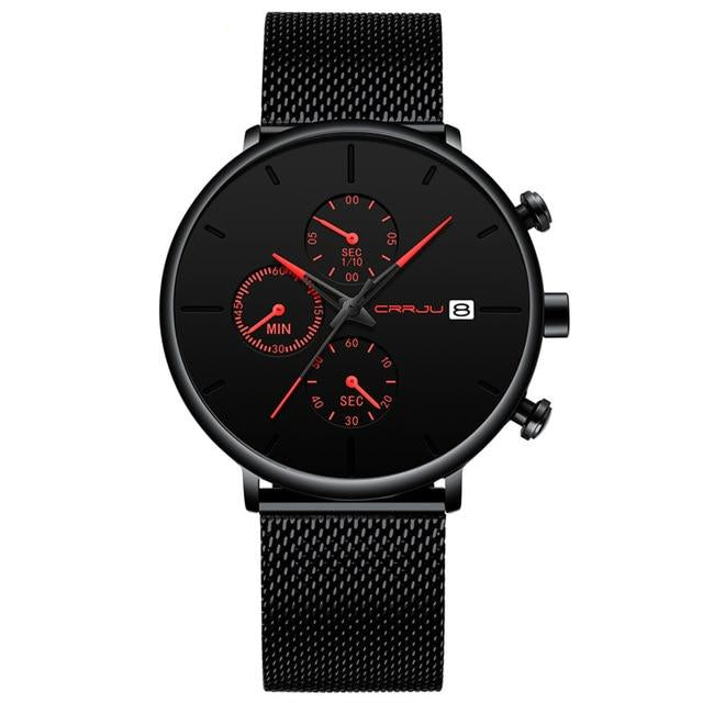 Front facing image of Cazonia Stainless Steel Mesh Watch with red markers in white background