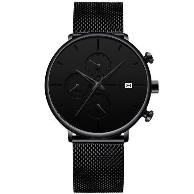 Front facing image of Cazonia Dress Minimalist Watch with black markers in white background