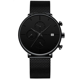 Front facing image of Cazonia Stainless Steel Mesh Watch with black markers in white background