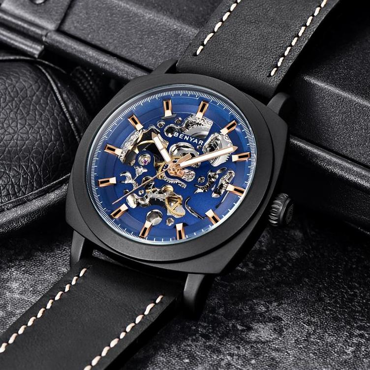 Front image black-blue Venal Skeleton Mechanical Watch in gray background
