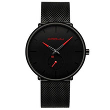 Load image into Gallery viewer, Finiera Black Steel Mesh Watch - Red