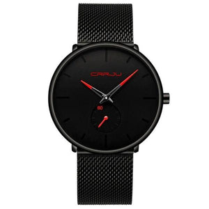 Finiera Black Steel Mesh Watch - Red