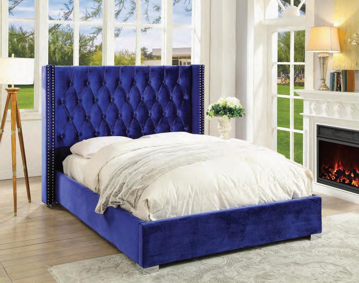 Forza  Blue King Upholstered Bed