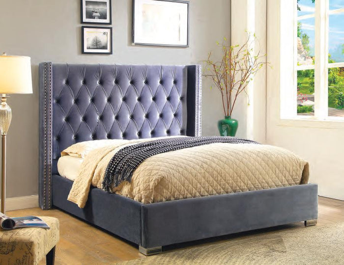 Fortis Silver Queen Upholstered Bed