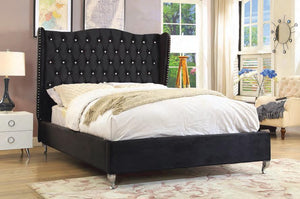 Volya Black King Upholstered Platform Bed