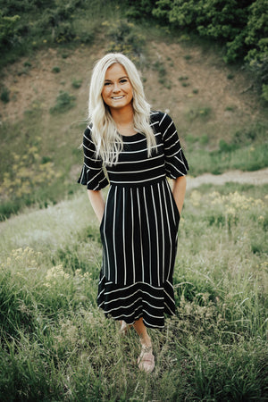 black striped dress ruffled sleeves
